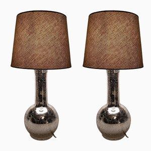 Lampade da tavolo vintage in vetro argentato di Uno & Östen Kristiansson per Luxus, Svezia, anni '60, set di 2