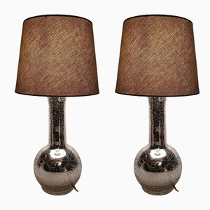 Vintage Swedish Silver Glass Table Lamps by Uno & Östen Kristiansson for Luxus, 1960s, Set of 2
