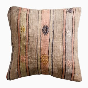Orange and Beige Wool & Cotton Striped Kilim Pillow Cover by Zencef Contemporary