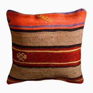 Cojín Kilim de lana y algodón a rayas marrones y naranjas de Zencef Contemporary