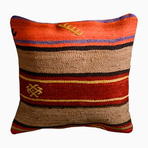 Orange and Brown Wool & Cotton Striped Kilim Pillow Cover by Zencef Contemporary