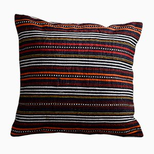 Black and White Wool & Cotton Striped Kilim Pillow Cover by Zencef Contemporary