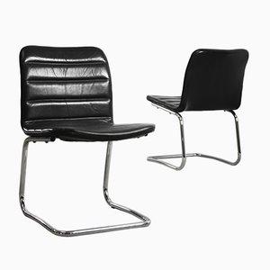 Sillones Club minimalistas de metal cromado y cuero negro de Pol International, años 60. Juego de 2