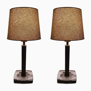 Vintage Swedish Glass, Brass & Leather Table Lamps from Uppsala Armaturfabrik, 1950s, Set of 2