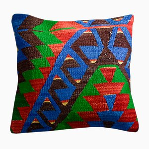 Colorful Wool & Cotton Kilim Pillow Cover by Zencef Contemporary