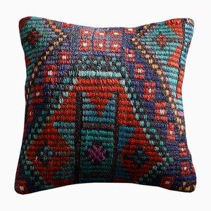 Bestickter Kelim-Kissenbezug aus Wolle & Baumwolle in Petrol & Rot von Zencef Contemporary