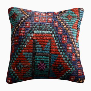 Teal and Red Wool & Cotton Embroidered Kilim Pillow Cover by Zencef Contemporary
