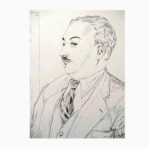 Villefosse's Portrait Engraving by Léonard Foujita, 1950s
