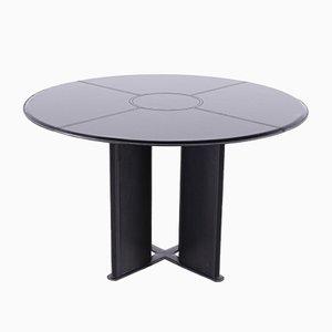 Table Ronde Vintage en Cuir Noir par Tito Agnoli pour Matteo Grassi, 1970s
