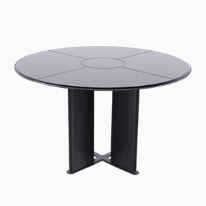 Vintage Black Leather Round Table by Tito Agnoli for Matteo Grassi, 1970s