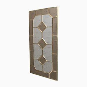Espejo de pared con marco de vitral, años 70