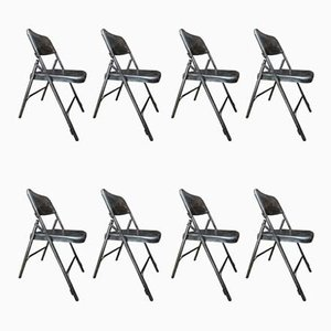 Vintage Polished Metal Folding Chairs, 1950s, Set of 8