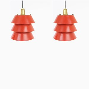 Mid-Century Italian Red Metal Pendant Lamps, Set of 2