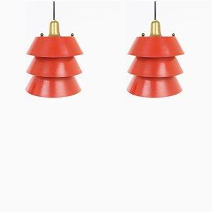 Rote italienische Mid-Century Deckenlampen aus Metall, 2er Set