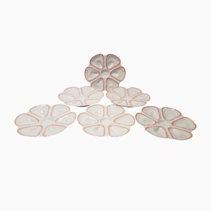 French Porcelain Oyster Plates from Robert Haviland, 1920s, Set of 6