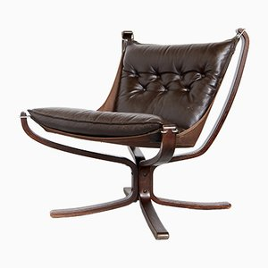 Norwegian Leather Lounge Chair by Sigurd Ressell for Vatne Møbler, 1970s