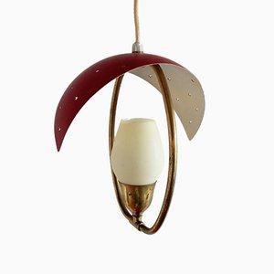 Lámpara colgante danesa Mid-Century de vidrio y latón de Bent Karlby para Fog & Mørup