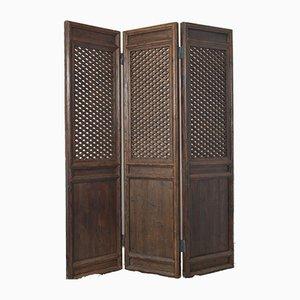 Antiker 3-teiliger chinesischer Raumteiler aus Holz