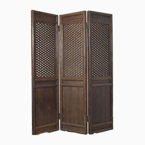 Antique Chinese Wooden 3-Panel Room Divider