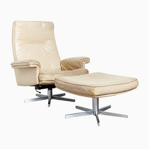 Model DS-31 Leather Lounge Chair and Ottoman from de Sede, 1970s, Set of 2