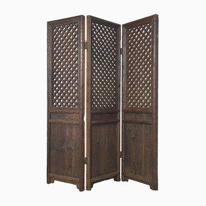 Biombo chino antiguo de tres paneles de madera