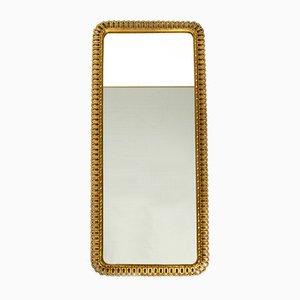 Espejo con marco de madera dorada de Schöninger, años 50