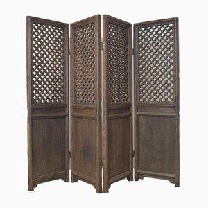 Biombo chino antiguo de cuatro paneles de madera
