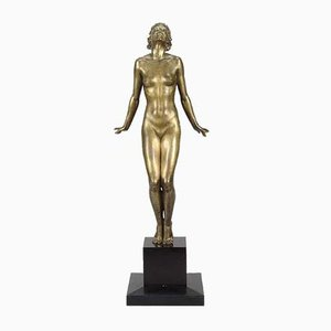 Bronze Female Sculpture by F. Preiss, 1920s