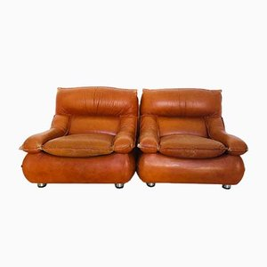September 2 Leather Armchairs from Lev & Lev, 1970s, Set of 2