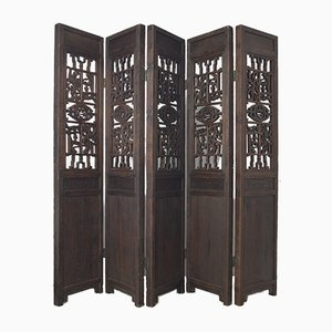 Antique Chinese Wooden 5-Panel Room Divider