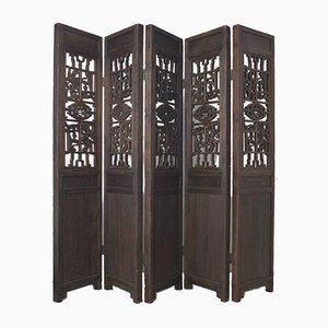 Biombo chino antiguo de cinco paneles de madera