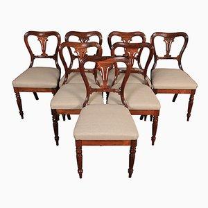 Antike nierenförmige Esszimmerstühle aus Palisander, 7er Set