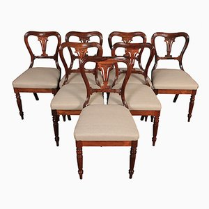 Antique Rosewood Kidney-Shaped Dining Chairs, Set of 7