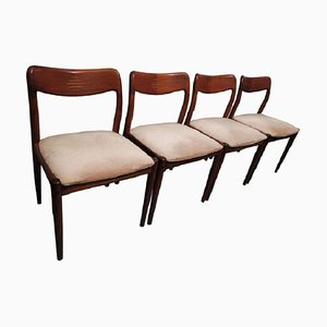 Danish Rosewood Inlaid and Mohair Dining Chairs, 1960s, Set of 4