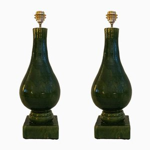 Vintage Glazed Terracotta Table Lamps, 1960s, Set of 2