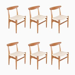 Chaises d'Appoint Modèle W2 par Hans J. Wegner pour C.M. Madsen, 1960s, Set de 6