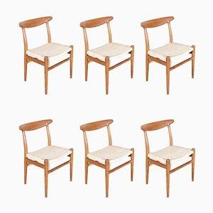 Modell W2 Beistellstühle von Hans J. Wegner für C.M. Madsen, 1960er, 6er Set