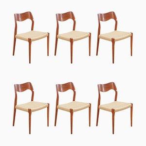 Chaises d'Appoint Modèle 71 par Niels Otto Møller, 1960s, Set de 6