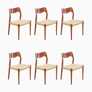 Model 71 Side Chairs by Niels Otto Møller, 1960s, Set of 6