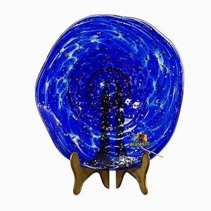 Blaue deutsche Glasschale von Erwin Gaschler für Alwe Regenhütte, 1960er