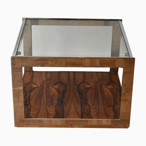 Mesa auxiliar de cromo y vidrio de palisandro de Richard Young para Merrow Associates, años 70