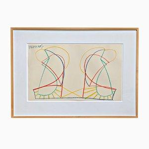 Farbkreidezeichnung von Markus Lüpertz, 1968
