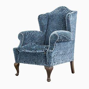 Blue Velvet Wingback Armchair, 1920s