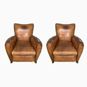 Leather Club Chairs, 1930s, Set of 2