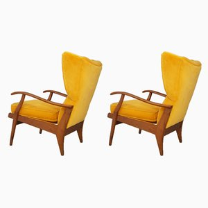 Butacas italianas de terciopelo amarillo de Camea, años 50. Juego de 2