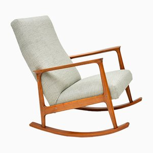 Danish Cherry Wood Rocking Chair, 1960s