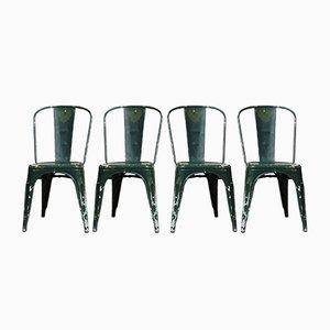 Beistellstühle mit grünem Bezug von Xavier Pauchard, 1930er, 4er Set
