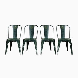 Green Side Chairs by Xavier Pauchard, 1930s, Set of 4