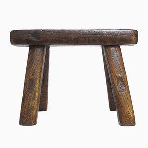 Taburete chino antiguo bajo de madera