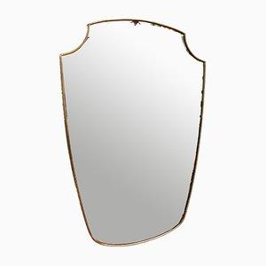 Italian Brass Framed Mirror, 1950s